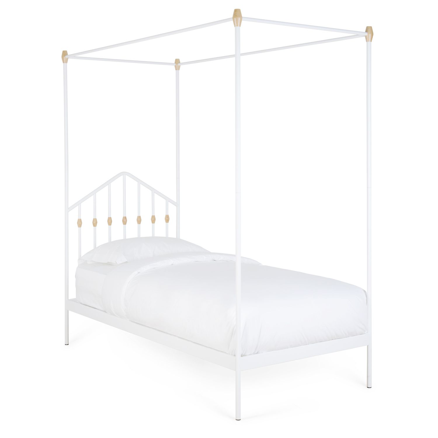 Single 4 Poster Bed Part - 46: Healu0027s Abacus Four Poster Single Bed White | Bed Frames | Furniture | Healu0027s