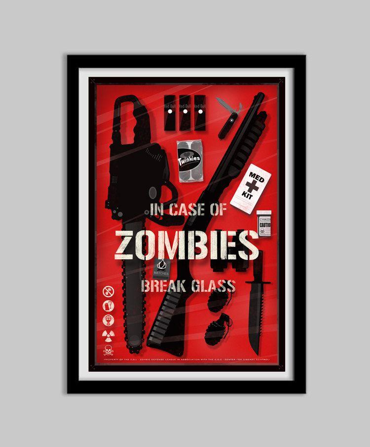 The Zombie Emergency Kit  In Case Of Zombies Break by bigbadrobot, $17.00