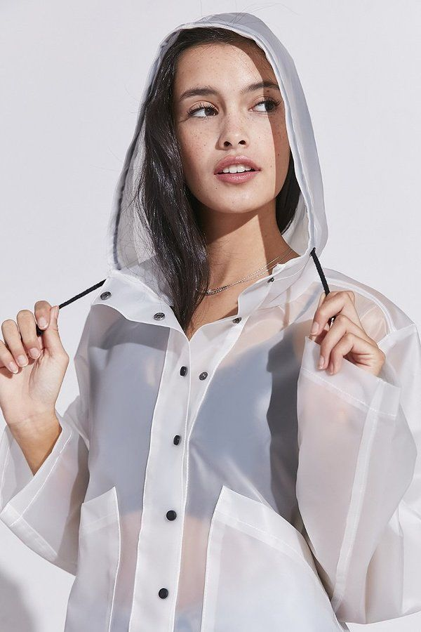 Women, Teen Urban Outfitters Silence + Noise Bess Clear Cropped Raincoat