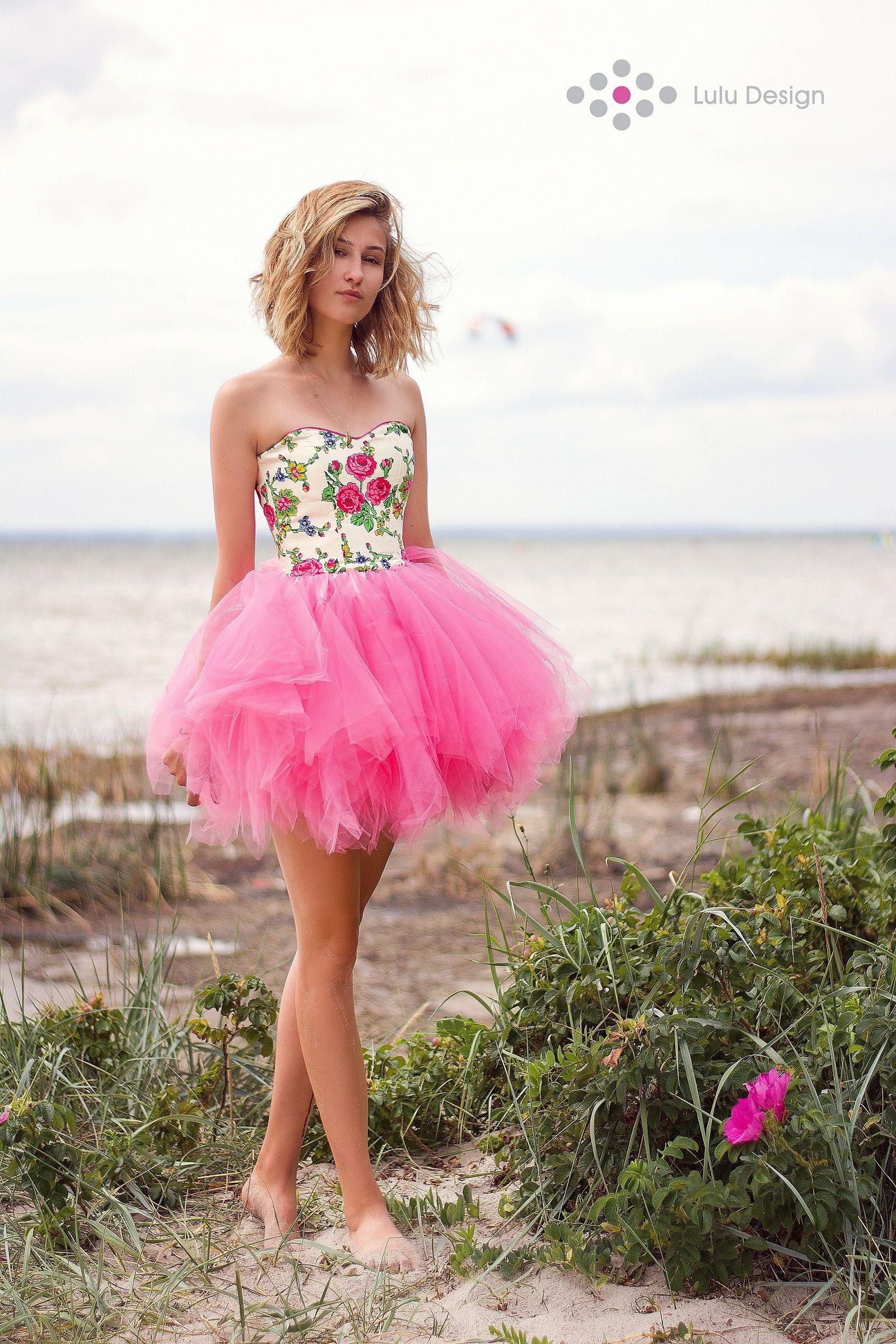 Suknia Z Tiulem I Gorsetem W Kwiaty Dress Luludesign Unique Hel Morzebaltyckie Minidress Pink Tiul Corset Tulle Madeinpoland G Girl Dresses Fashion