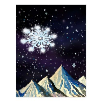 Starry Sky w BIG Snowflakes Card - postcard post card postcards unique diy cyo customize personalize