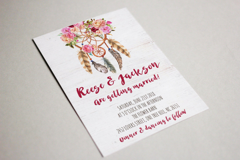 Dreamcatcher Wedding Invitation Printable Hippie Wedding Invite ...