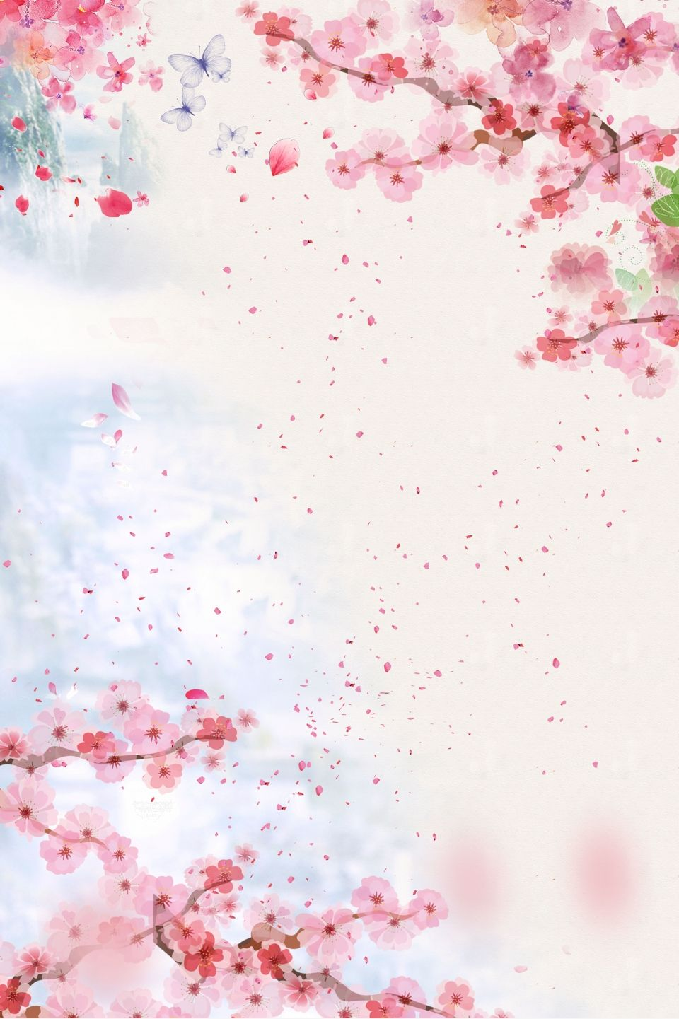 Beautiful Fresh And Beautiful Peach Flower Poster Background