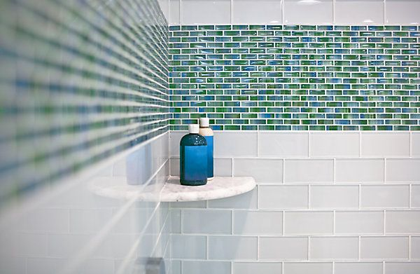 Caribbean Brick Glass As Accent In White Tile Tub Surround
