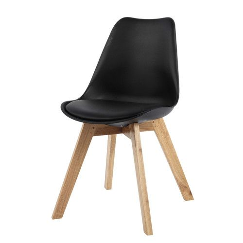 Chaise en polypropyl ne et ch ne noire 59 99 salon for Chaise sejour noir