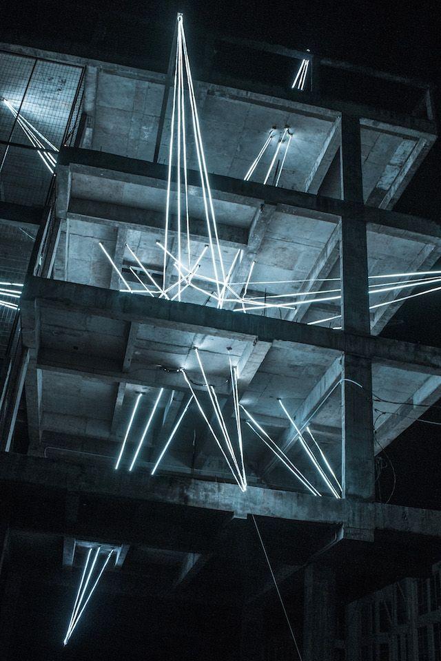 Massive Led Star Lights Up Malaysia Light Installation Installation Art Light Art