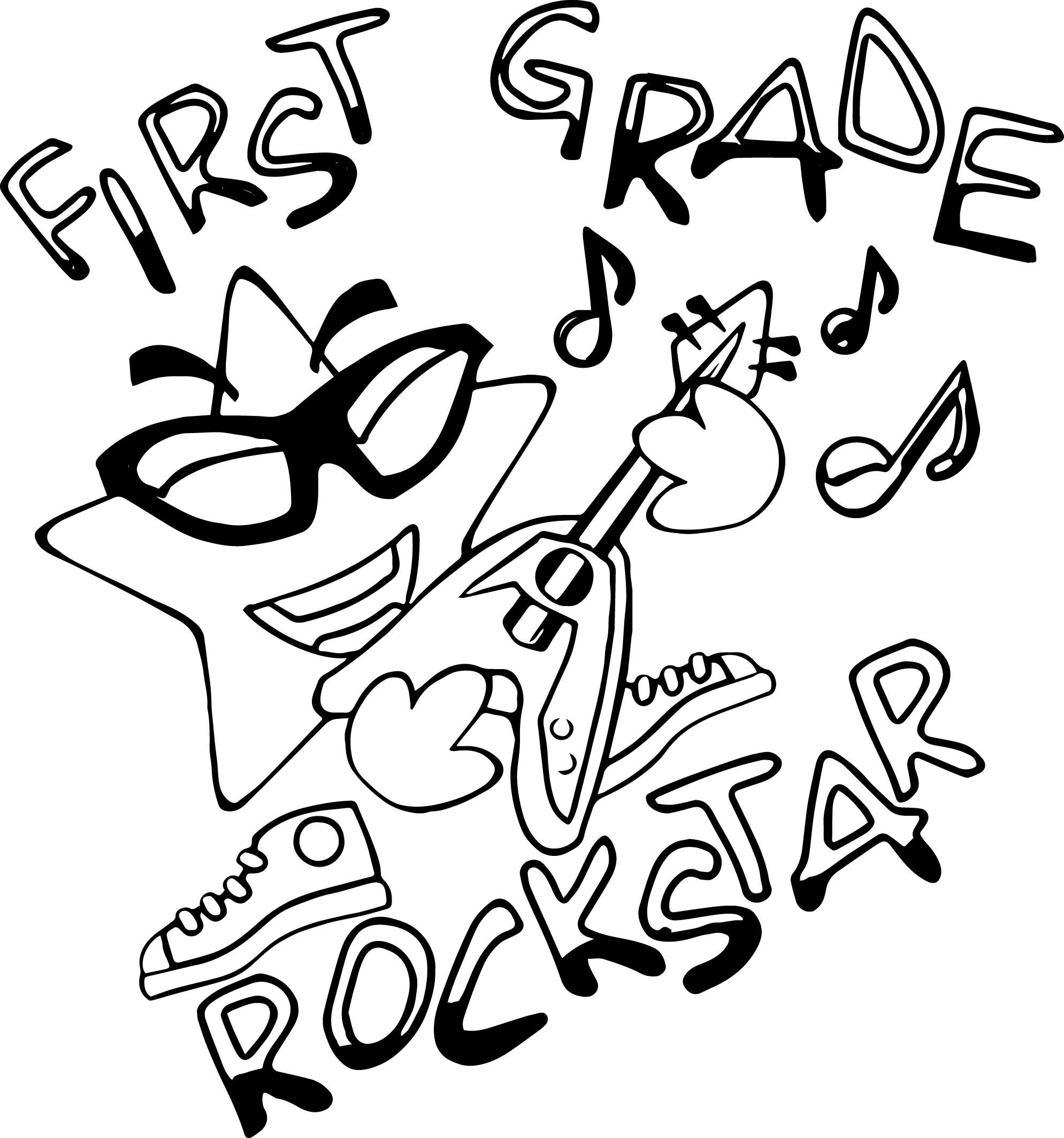 Nice First Grade Rock Star Coloring Page