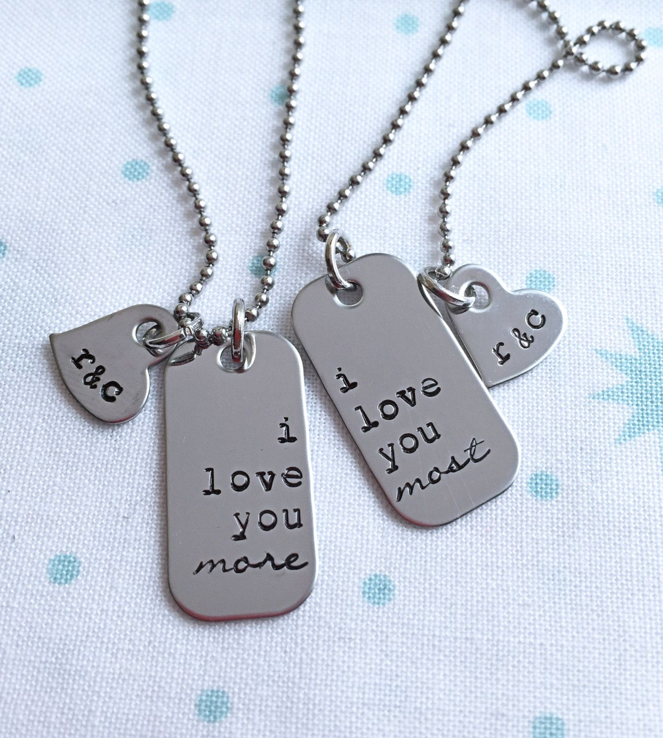 I Love You More I Love You Most Custom Couples Necklace Set