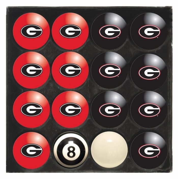 Georgia Uga Bulldogs Ncaa Home Away Billiard Pool Table Ball Set Billiard Balls Billiards Billiard Pool Table