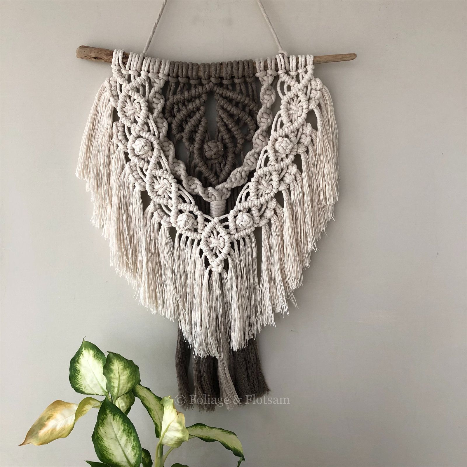 Macrame wall hanging. coloured macrame. bohemian wall decor with driftwood, small size