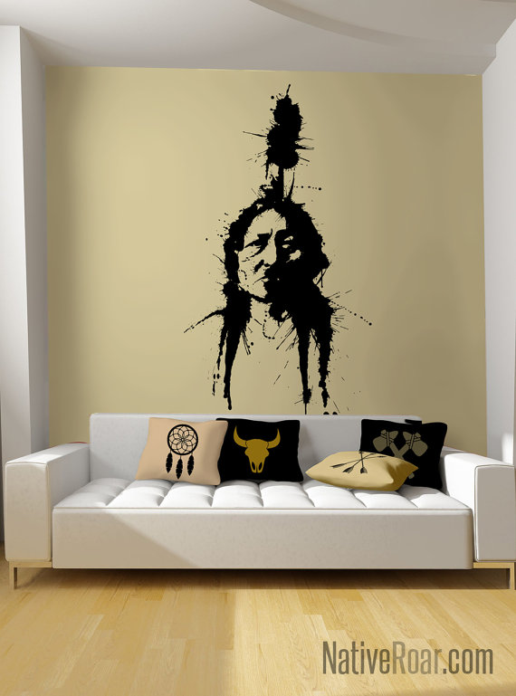 Modern Native American Style Chief Sitting Bull Wall Decal