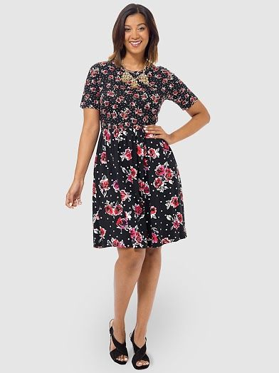 Skater Dress In Mixed Floral Print by Asos Curve,Available in sizes 14/16,18/20 and 22/24