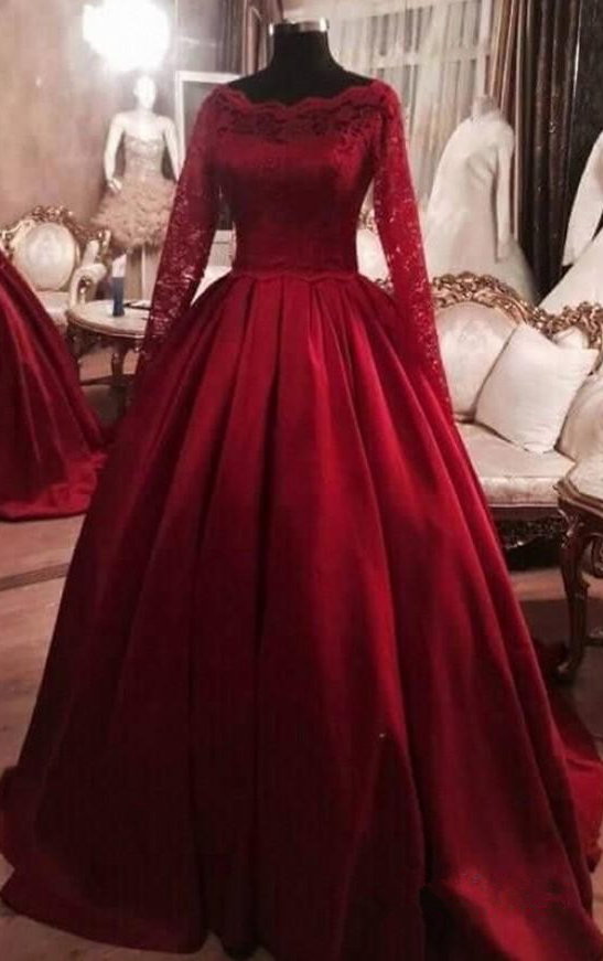 9aa5eb92d4c Princess Ball Gown Dress with Lace Long Sleeves
