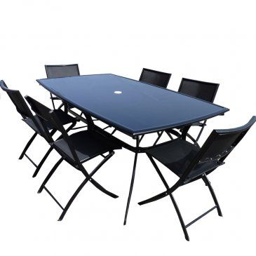 Salon de jardin - Table aluminium + 6 chaises NOIR plateau ...