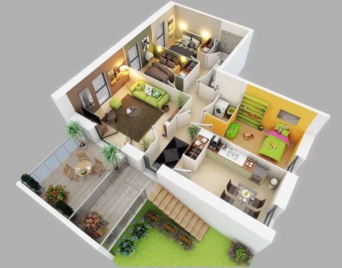 Fabienno55 I Will Do Interior Design On Sweet Home 3d And Homebyme For 5 On Fiverr Com Tata Letak Rumah Denah Rumah Denah Rumah 2 Kamar Tidur
