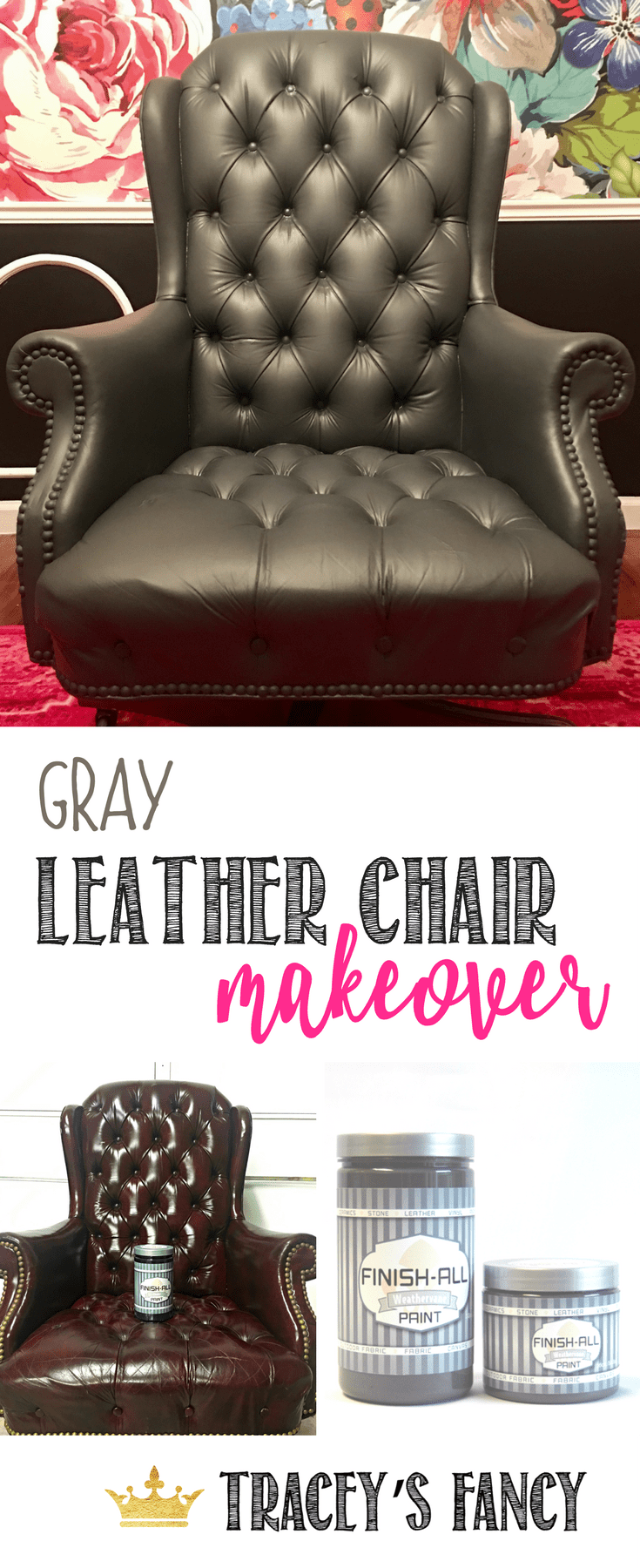 Painting a Gray Leather Chair An Easy Home Office Update