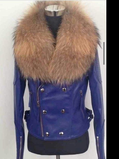 Image of Purple /Pink / Red Detailed Fur Collar Leather Jacket