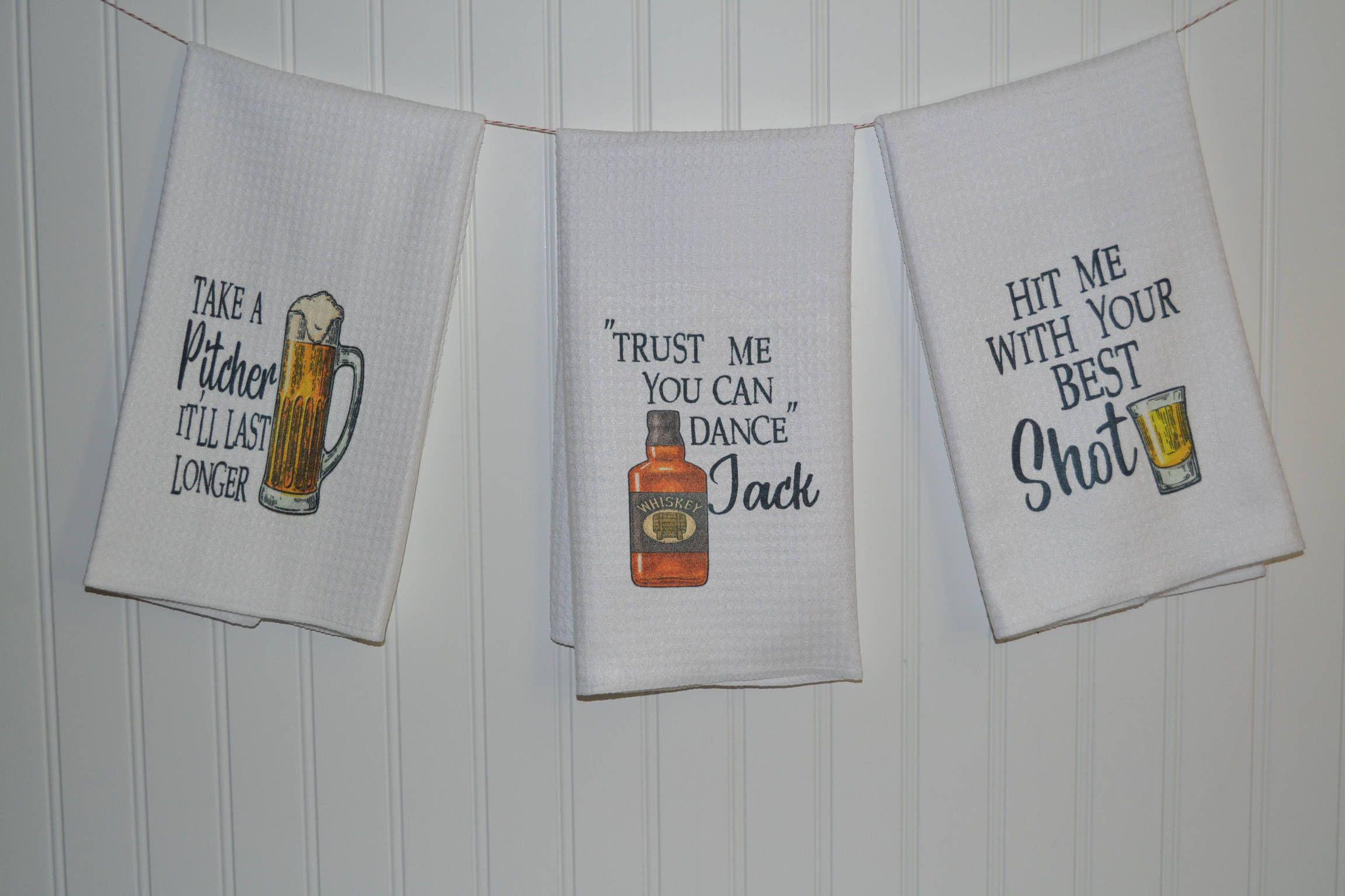 Wine Print Kitchen Tea Towel Hanging Dish Cloth Funny Kitchen//Bar Hand Towel