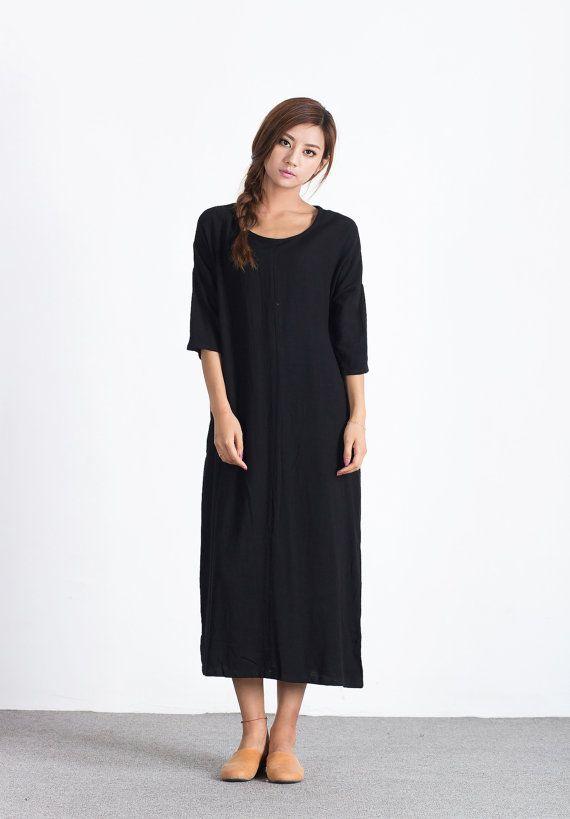 8a0bb388b74 Oversize Loose Casual Dress linen cotton dress women s cotton caftan linen  kaftan plus size clothing