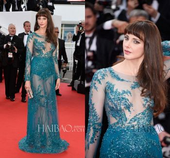 2015 68th Cannes Film Festival Celebrity Dresses Sexy See Through Teal Tulle with Applique Beads Long Sleeve Party Gown Vestidos