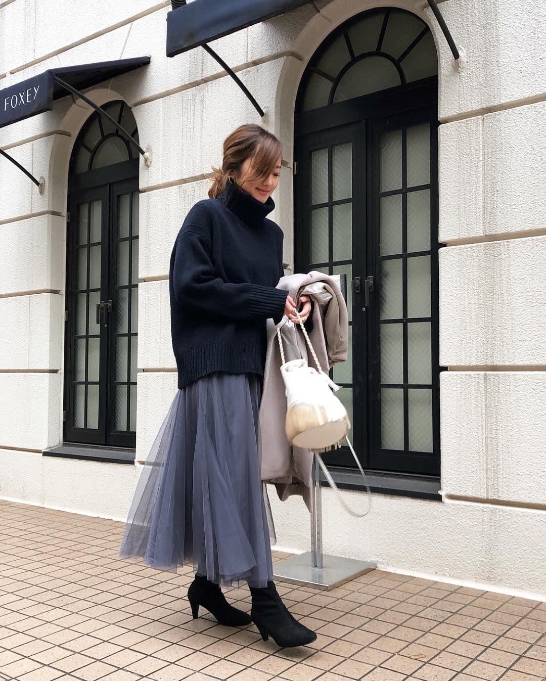 こなれ感max おしゃれさんの ゆるずるコーデ 着こなしテク チュールスカート ロングチュールスカート 秋冬 ファッション