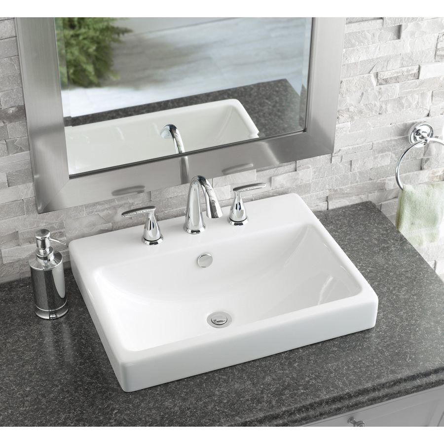 AquaSource White Fire Clay DropIn Rectangular Bathroom