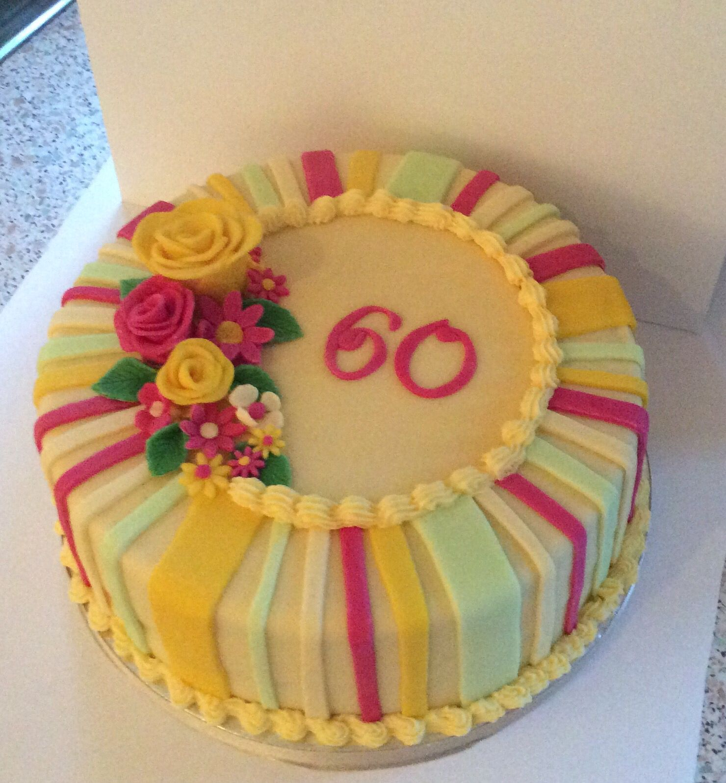 Bright Floral Cake For A Lovely Lady's 60th Birthday