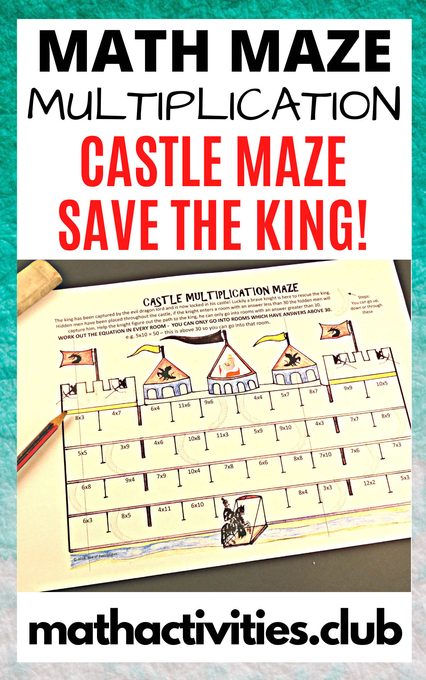 Castle Multiplication Maze Math Activity