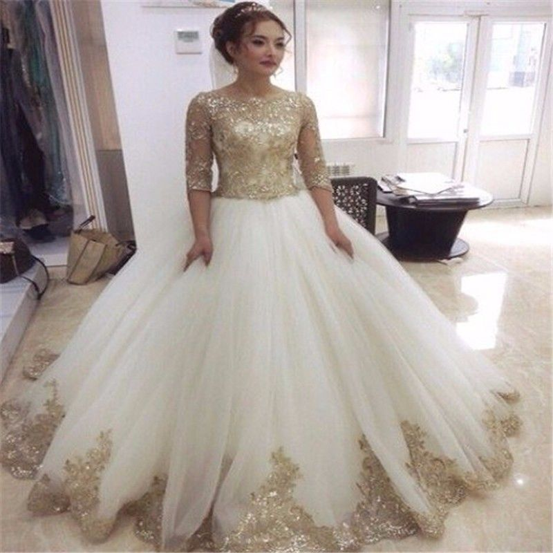 Luxury Gold Sequined Wedding Dress Ball Gown White Tulle Half Sleeve ...