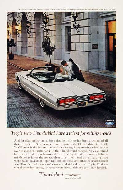 1964 Ford Thunderbird Convertible Classic Vintage Print Ad Ford Thunderbird Thunderbird Car Ford Classic Cars