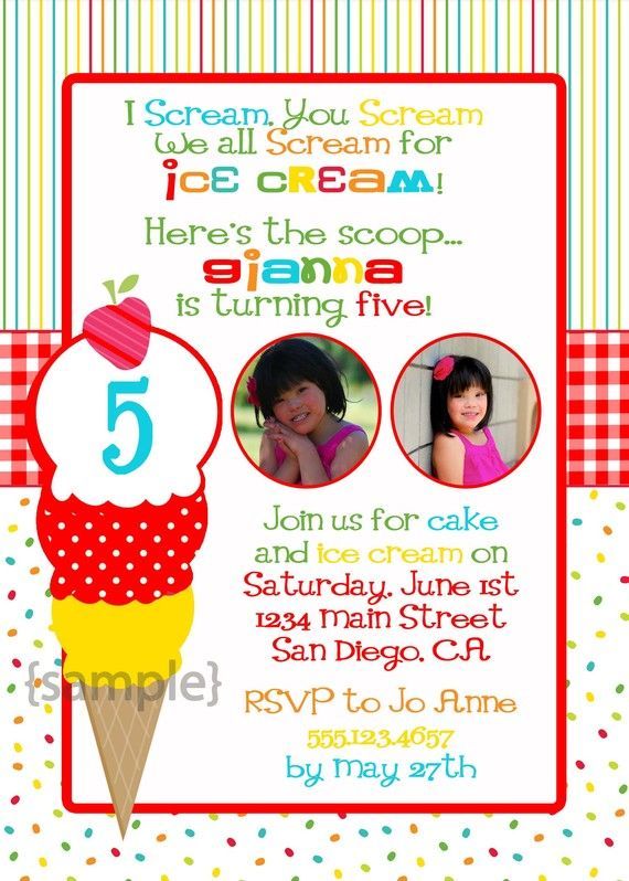 Wording For Ice Cream Party Invitation