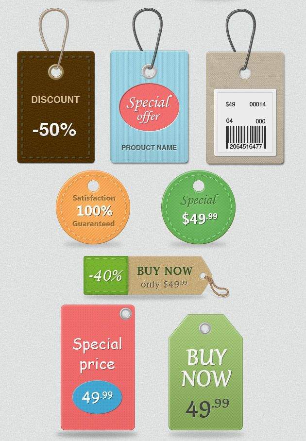20 Free Price Sale Tag Psd Templates Set For Ecommerce Website