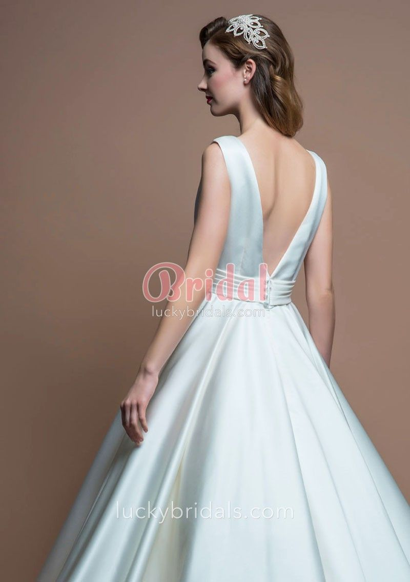 Antique cream wedding dress  s Vintage Tealength Aline Bateau Neck Ivory Satin Sleeveless