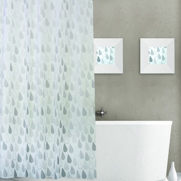 Dainty Home Raindrops Plastic Shower Curtain 13-piece Set | shower ...