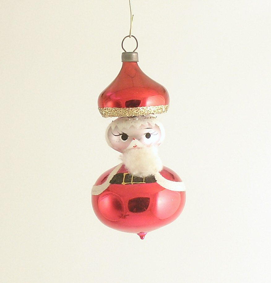 Italian ornaments - Vintage Glass Christmas Ornament Santa Claus Italy I Called Him A Mushroom Guy