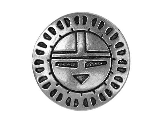 2 Zuni Sunface 7/8 inch 22 mm Metal Buttons by ButtonJones