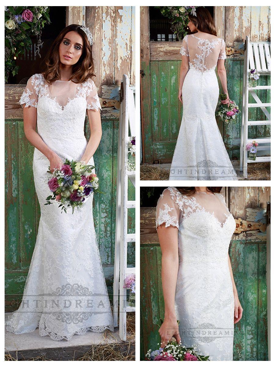 Illusion neckline short sleeves lace mermaid wedding dress merry
