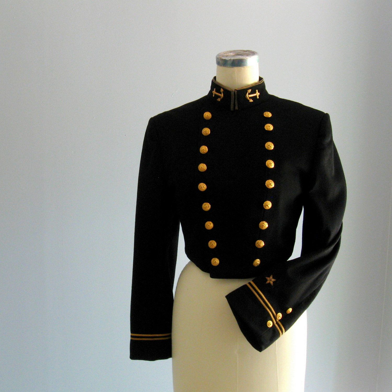 1960's Military Marching Band jacket blazer ... 1963 US Navy black ...