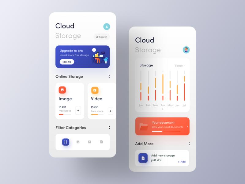 Cloud Storage app IOS Cloud storage, App design, App