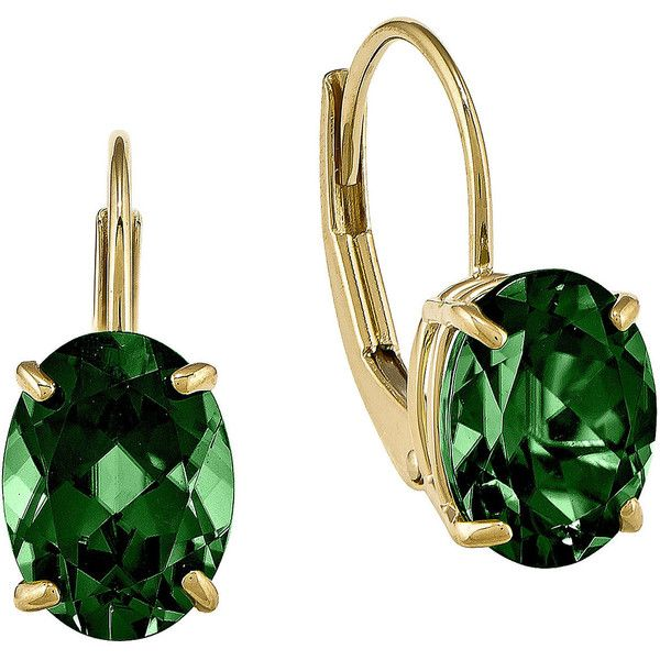 Lab-Created Helenite 14K Yellow Gold Oval Drop Earrings ($229) ❤ liked on Polyvore featuring jewelry, earrings, yellow gold earrings, gold drop earrings, green gold earrings, yellow gold drop earrings and gold jewelry