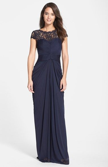 bf582577f21 Free shipping and returns on Adrianna Papell Lace Yoke Drape Gown (Regular    Petite) at Nordstrom.com. Romantic lace drapes the yoke of a floor-length  gown ...