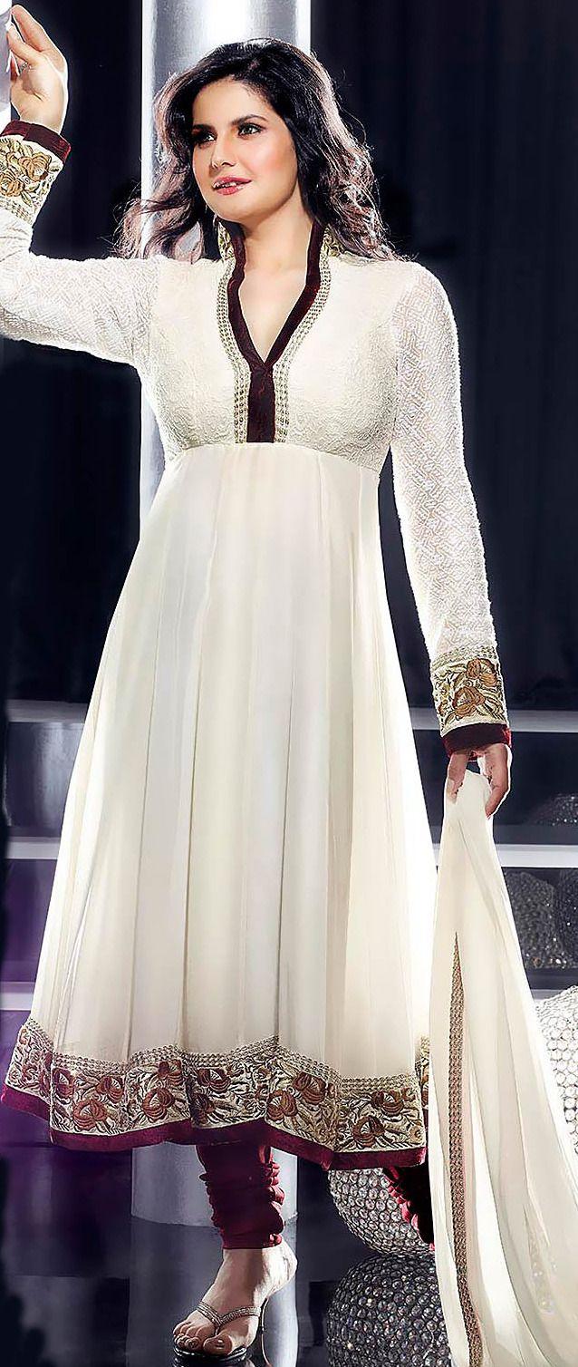 White Faux Georgette Churidar Kameez @ $153.00