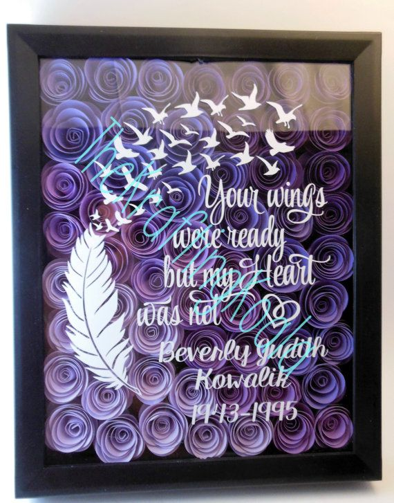 Your Wings Were Ready Memorial Flower Shadow Box 8x10