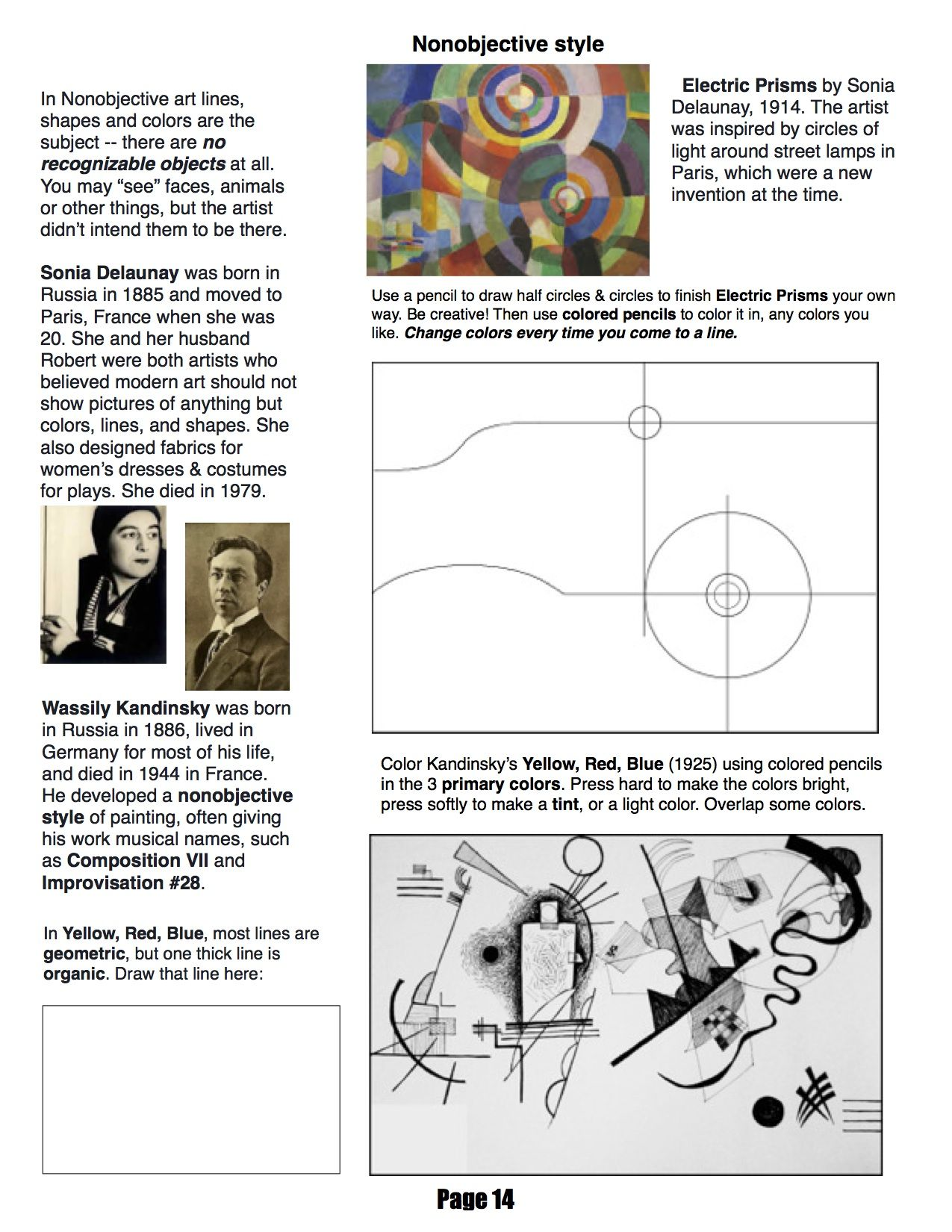 Ms. Mo's art room 4th grade workbook page about nonobjective art.