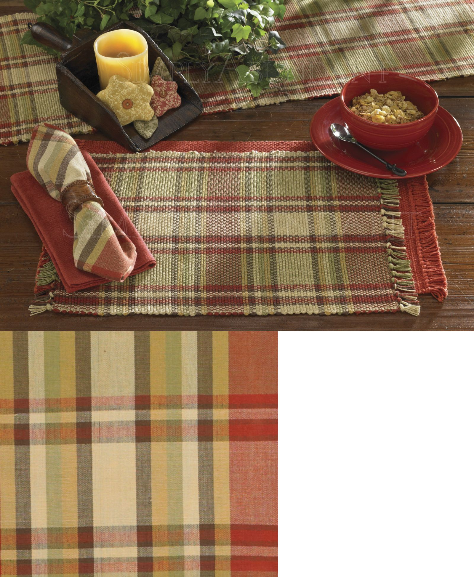 Table Linen Sets 71238 Heartfelt Placemats And Napkins By Park Designs Warm Country Plaid & Table Linen Sets 71238: Heartfelt Placemats And Napkins By Park ...