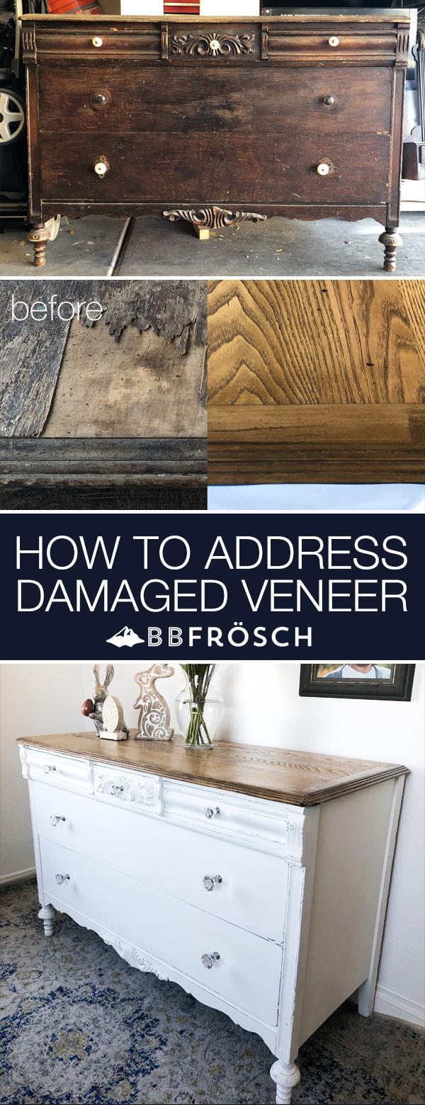 Antique Dresser Makeover + How to Address Damaged Veneer