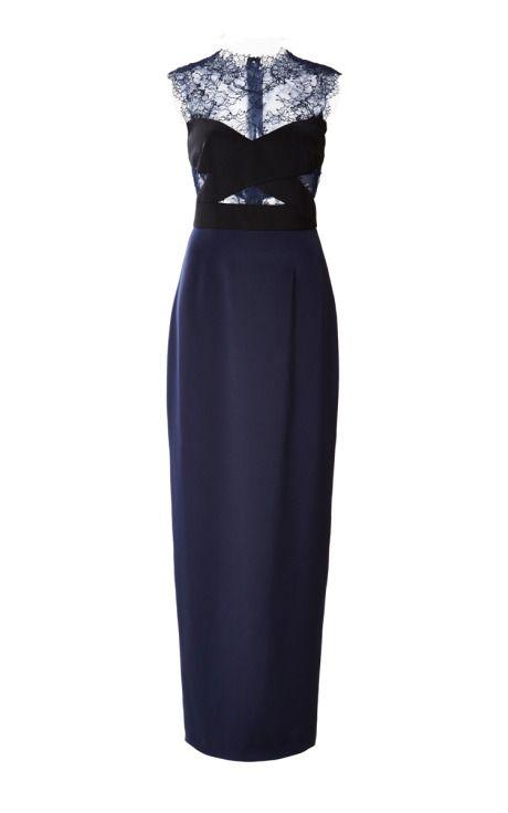 Lace Illusion Column Gown by Monique Lhuillier Pre-Fall 2015 for Preorder on Moda Operandi