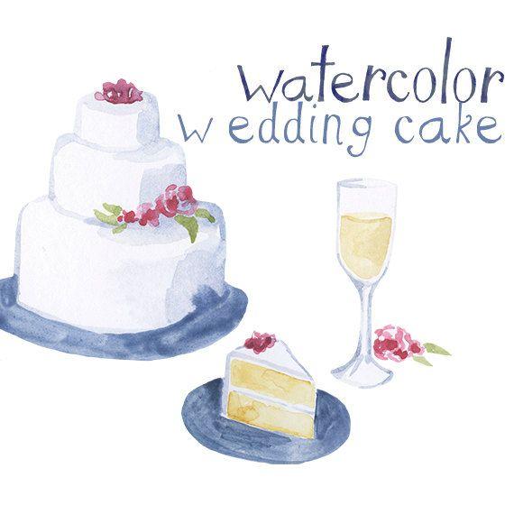 Custom Watercolor Wedding Cake Wine Reception Clipart Wedding
