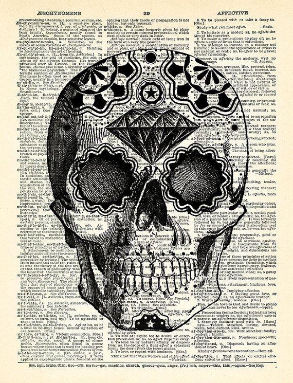 Sugar Skull Art Print Day Of The Dead Art Mexican Skull Poster