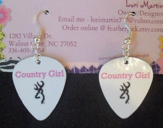 Pink Country Girl browning deer symbol white guitar by featherpick, $6.00